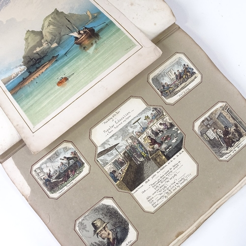 1053 - Album containing sporting military and satirical prints, mainly hand coloured...