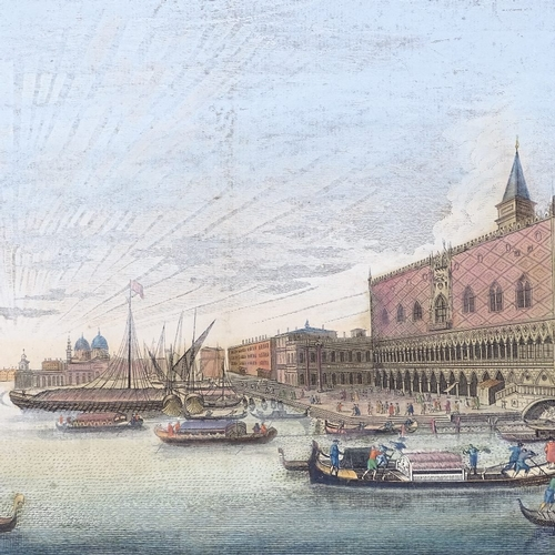 1055 - After Marieschi, hand coloured engraving, view of The Doge's Palace Venice, published by Lauri & Whi...