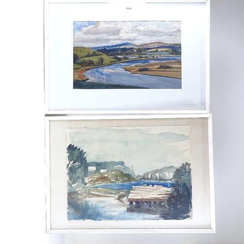 1058 - 2 mid-20th century watercolours, Irish landscapes, unsigned, 11