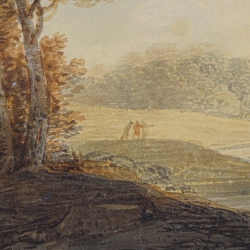 1064 - Attributed to William Payne (1760 - 1830), watercolour landscape, inscribed verso, 4.5
