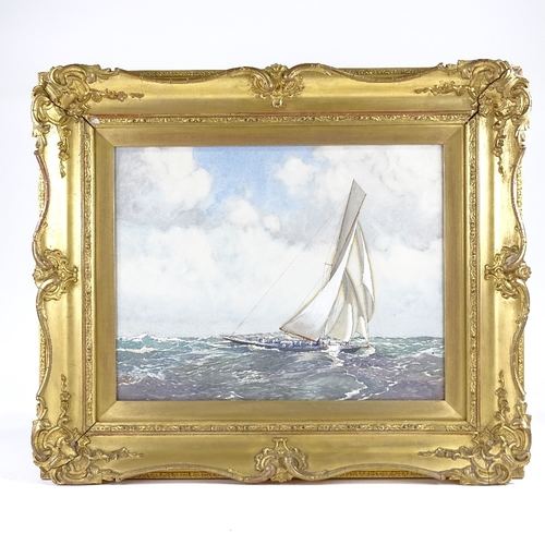 1069 - Robert Clouston Young (Scottish 1860 - 1929), watercolour, a gaff rigged sailing yacht, signed, 14