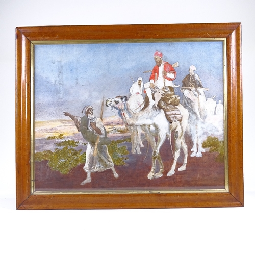 1070 - 19th/20th century watercolour gouache, camel riders, unsigned, 18