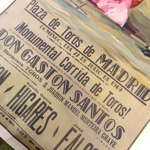 1075 - 3 Spanish bull fighting posters, circa 1960s, unframed...