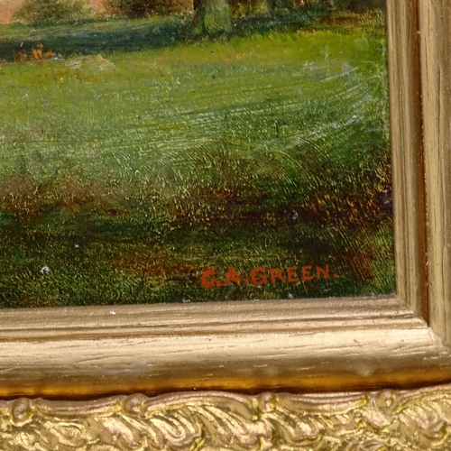 1076 - C A Green, pair of oils on board, rural landscapes, signed, 9