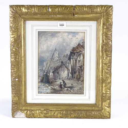 1084 - 19th century watercolour, coastal fishing village, unsigned, 12