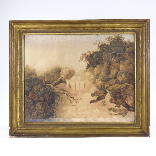 1085 - 18th century English School watercolour, fisherman by a waterfall, unsigned, 17