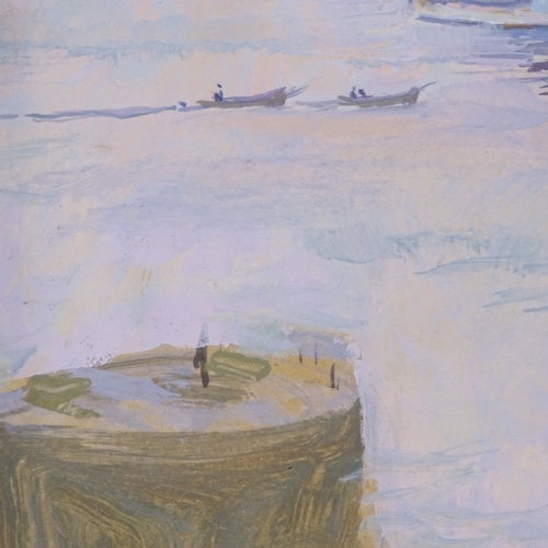1089 - Lavery, oil on board, battleship off the coast, indistinct monogram, inscribed verso, 8