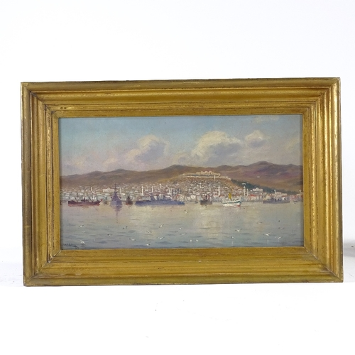 1090 - E Gutman, oil on canvas, warships off the coast, signed and dated 1917, 8