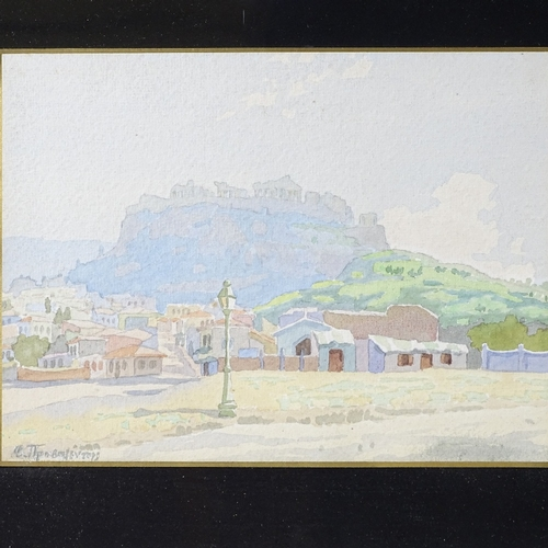 1091 - Greek School, pair of watercolours, view towards The Acropolis and temple ruins, indistinctly signed...