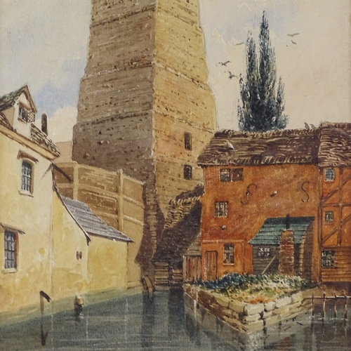 1092 - Thomas Shotter Boys, watercolour, canal scene, 1862, 905