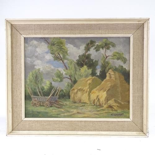 1093 - Marjorie Remnant, oil on canvas, haystacks, signed, 14