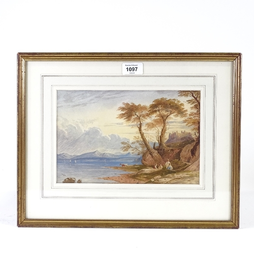 1097 - J Varley, 19th century watercolour, coastal scene, unsigned, 7