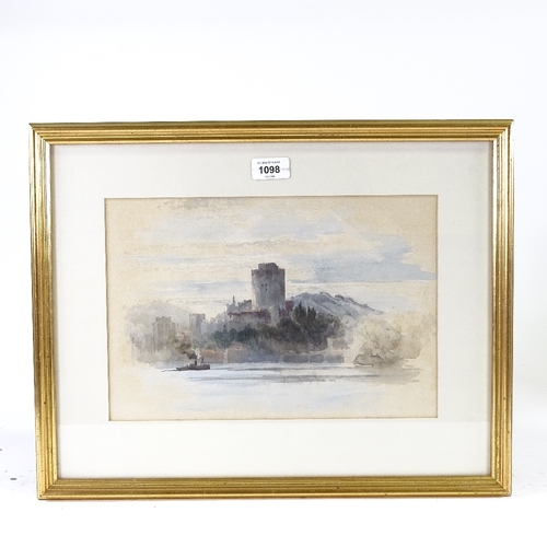 1098 - Keeley Halsewell, watercolour, impressionist view towards a castle, unsigned, 9