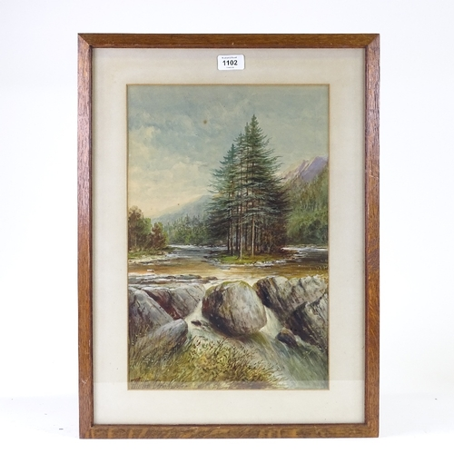 1102 - Milton Drinkwater, watercolour, rapids, signed, 17.5