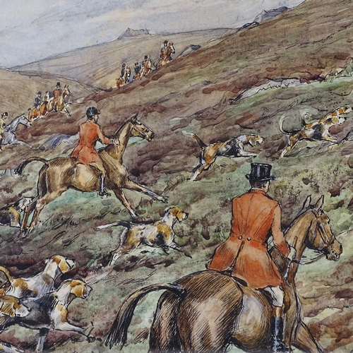 1104 - H E W, watercolour, foxhunting scene, 1924, indistinctly signed, 12
