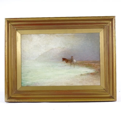 1128 - William Bond (1833 - 1926), oil on board, horse and rider in Highland mist, 9.5