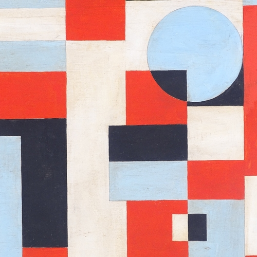 1129 - Modern oil on board, geometric composition, unsigned, 15