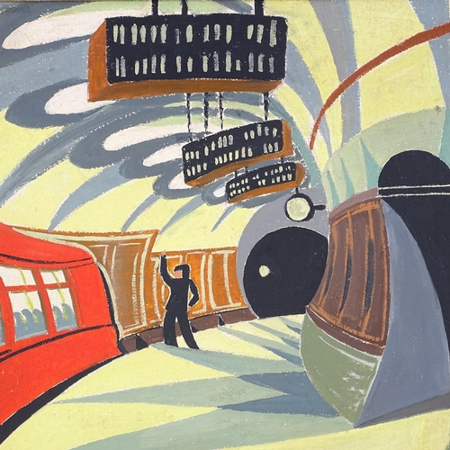 1133 - After Cyril Power, modern oil on canvas, tube station, unsigned, 14