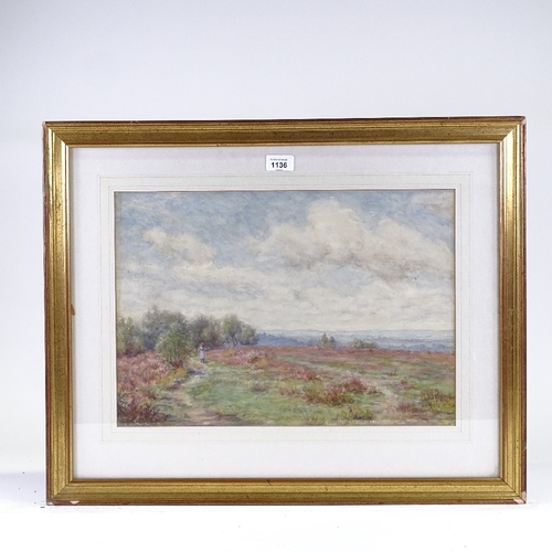 1136 - Percy Fisher (1867 - 1944), watercolour, Barossa Common, signed, 12.5