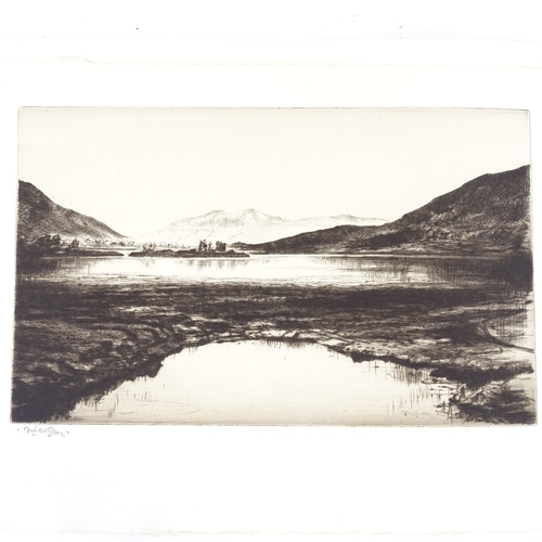 1141 - John Nicolson, etching, Loch Leven, signed in pencil, 6.75