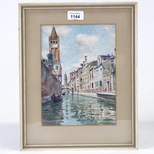 1144 - Vittore Zanetti, watercolour, Venice canal scene, signed, 9