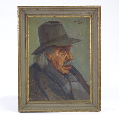 1152 - Leo Klin (1887 - 1967), oil on board, portrait of F C Mears, the inventor of parachute mechanism and...