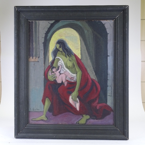 1154 - Mid-20th century oil on canvas, Madonna, indistinctly signed, 26