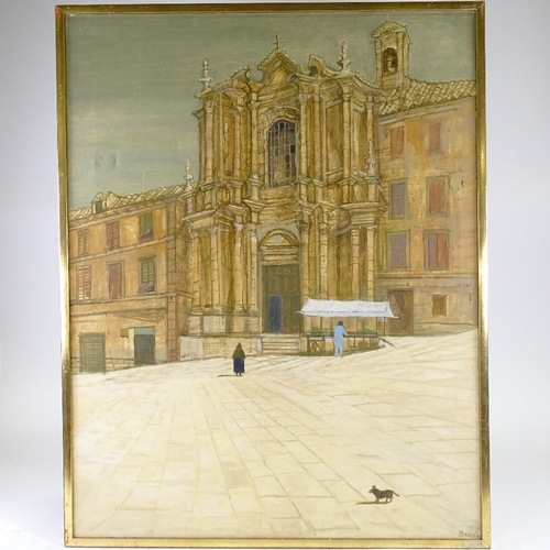 1155 - Richard Beer (1928 - 2017), oil on canvas, Venice square, signed, 36
