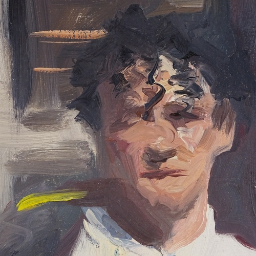 1156 - Howard Morgan, oil on canvas, portrait of a waiter, 24