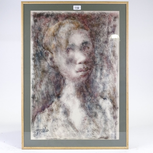 1158 - Eve Disher, watercolour, portrait of a girl, signed, 25.5