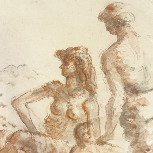1161 - Gerald Ososki (1903 - 1981), sanguine chalk/watercolour on paper, Classical figures, 18