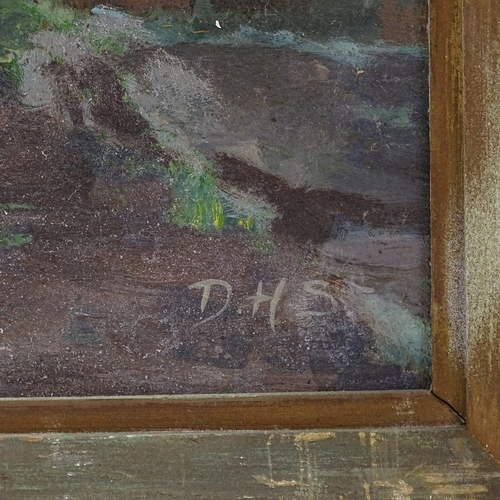 1162 - Oil on board, Continental scene, signed with monogram, 20