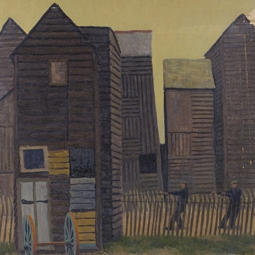 1166 - Alan Gourley, oil on canvas, net huts Hastings, signed, 20