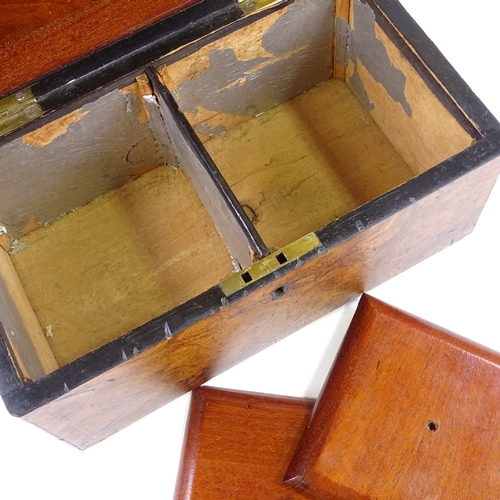 280A - A Georgian burr-walnut and tulipwood banded tea caddy, with inner lids, width 23cm, (BBC Antiques Ro...