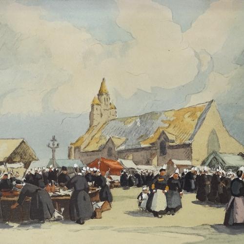 1214 - H Barnoin, hand coloured lithograph, Continental market scene, 8.5