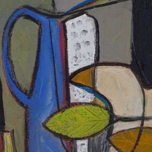 1222 - Acrylic on board, abstract still life, unsigned, 9