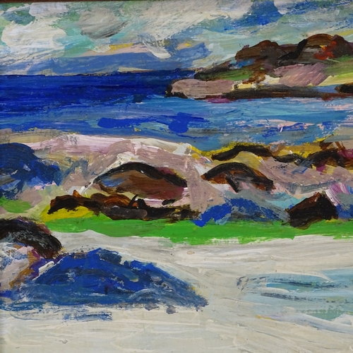 1223 - Oil on board, coastal view, indistinctly signed, 10