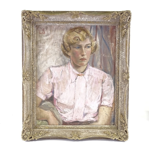 1226 - Mid-20th century oil on canvas, portrait of a woman, unsigned, 20