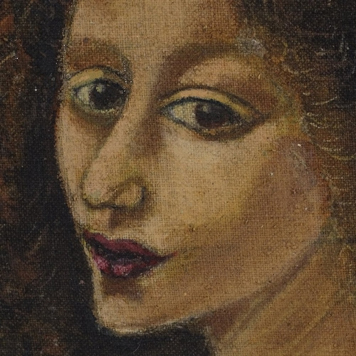 1231 - Oil on canvas, portrait of a woman, unsigned, 16