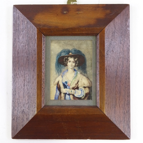 1238 - Mid-19th century miniature watercolour on paper, portrait of a woman, unsigned, 4