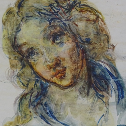 1239 - T O'Donnell, 3 watercolours and drawings, Classical portraits, signed with monograms, framed (3)...