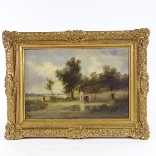 1240 - 19th century oil on canvas, rural scene, signed with monogram, 10