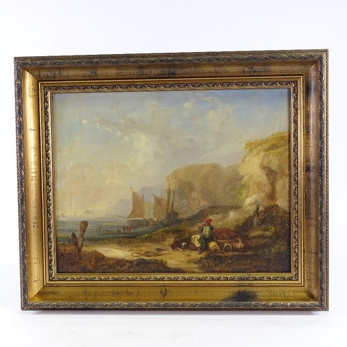 1241 - 19th century oil on canvas, fishing beach scene, unsigned, 14