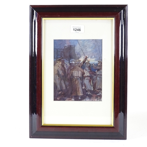 1246 - Early 20th century watercolour, military scene, indistinct monogram and date, 7