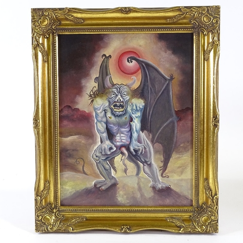 1248 - Mixed media on wood panel, a demon, inscribed verso James Brown, 1975, 13.5