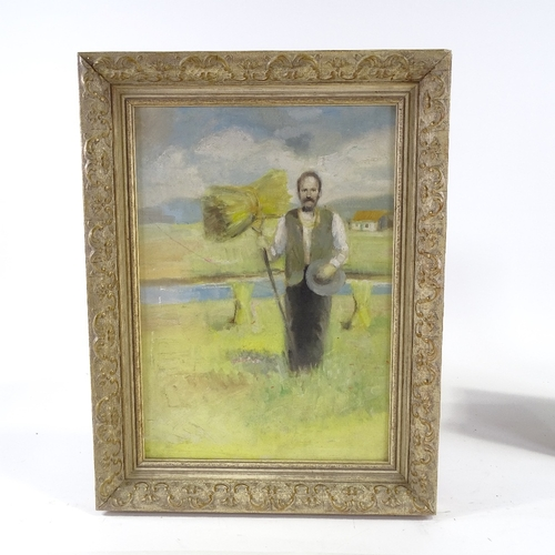 1250 - A set of 4 oils on canvas, portraits of country folk, mid-late 20th century, unsigned, 14