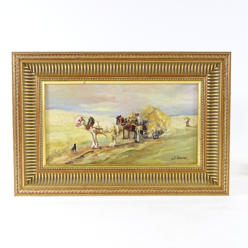1253 - Oil on wood panel, farm hay cart, indistinctly signed, 7