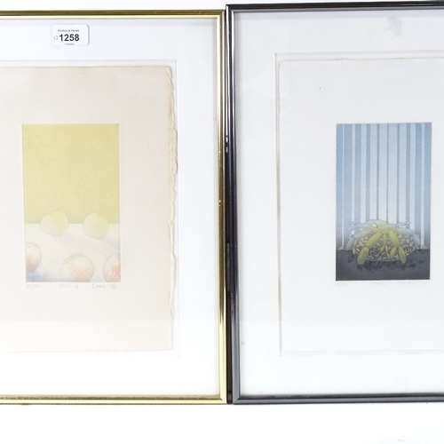1258 - Martin Ware, pair of coloured etchings, Fruits 4 and Plants 4, signed in pencil, 1977, from an editi...