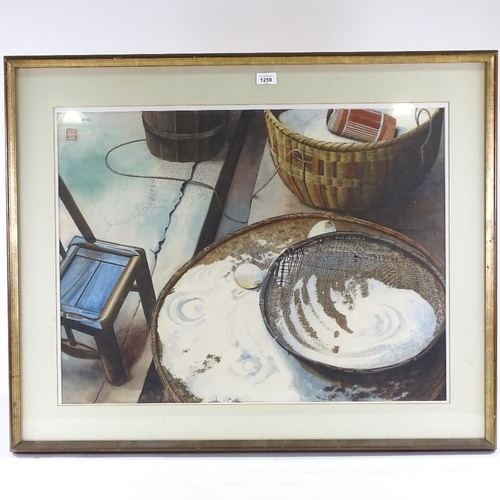 1259 - Maris Shepherd, watercolour, Oriental still life, signed with Chop, 22