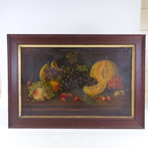 1260 - Grace Harding, oil on canvas, still life study, fruit on a table, signed, 19